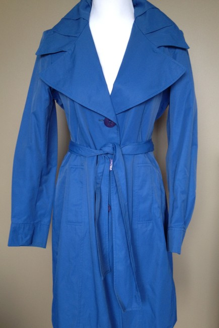 Tahari Belted Fitted Wide Collar Duster Raincoat