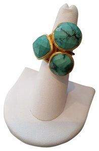 Other Vintage Turquoise 3-Stone Cluster Yellow Gold Plated Ring
