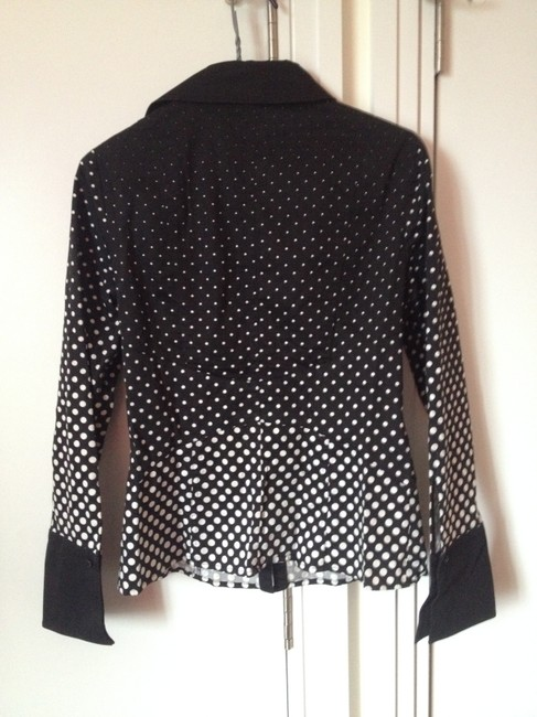 Kay Unger Blouse Pleated Structured Button Down Shirt Black and White