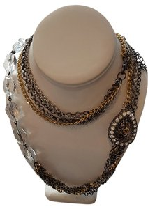 Multi-Strand Chain Link Crystal Brooch Necklace