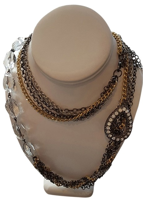 Multi-tone Gold Multi-strand Chain Link Crystal Brooch Necklace Image 1