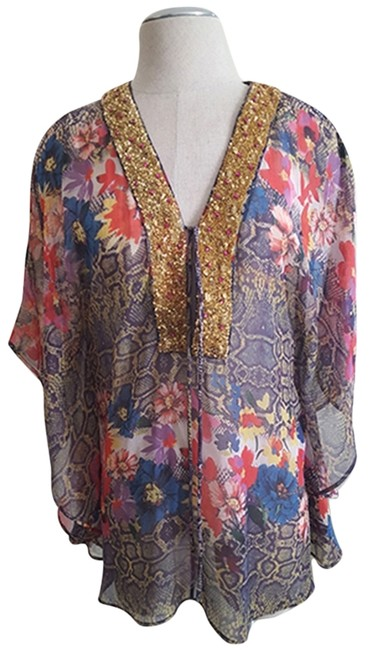 Item - Women's Floral Printed Poly Chiffon Multi Color Top