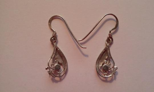 Other ANTIQUE Sterling Silver And Lapis Lazuli Filigree Pierced Dangle Drop Earrings