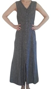 Gray with Muted Light Green Stripes Maxi Dress by FLAX Jeanne Engelhart