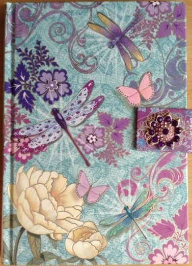 Punch Studio Punch Studio Diary Journal Dragonflies Butterflies Flowers Pink Purple Teal Yellow Notebook with Purple Brooch