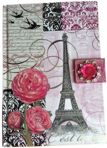 Punch Studio Punch Studio Diary Journal Notebook Pink Roses Eiffel Tower Paris France Pink Flower Brooch