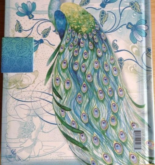 Punch Studio Punch Studio Diary Journal Notebook Peacock Turquoise Yellow with Oval Turquoise Brooch