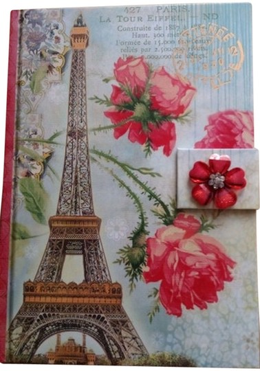 Punch Studio Punch Studio Diary Journal Notebook Red Roses Eiffel Tower Pink Flower Brooch