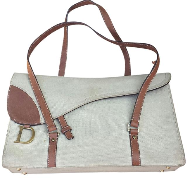Item - Christiandior Leather Front Flap Taupe-ish Gray Canvas Shoulder Bag