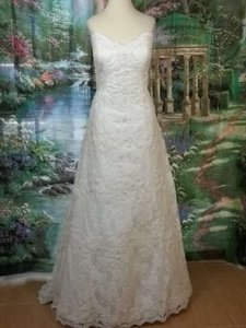 Alfred Angelo Ivory Lace 801 Formal Wedding Dress Size 12 (L)
