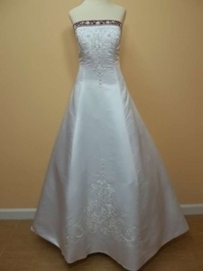 Alfred Angelo White/Claret Satin 1516 Formal Wedding Dress Size 12 (L)