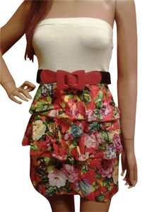 short dress MULTI COLOR Floral Ruffle Strapless on Tradesy