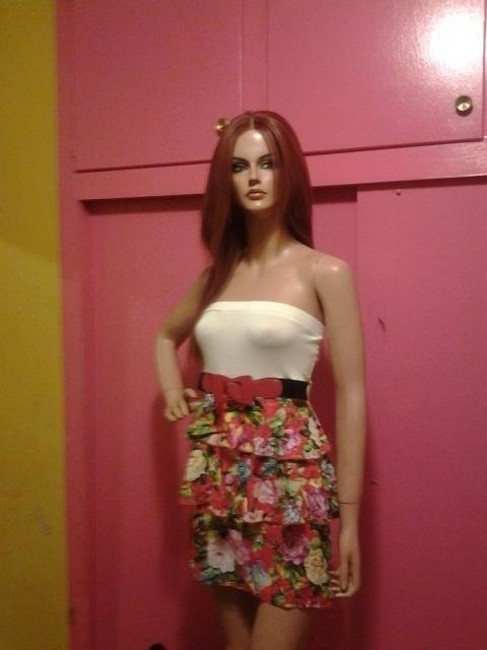 Other short dress MULTI COLOR Floral Ruffle Strapless on Tradesy