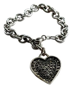 Sterling Silver Bracelet with One Heart Charm