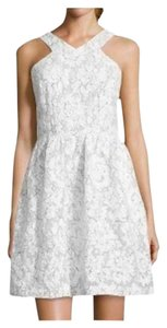 ivy + blu short dress WHITE AND GREY Lace Halter Fit Flare on Tradesy