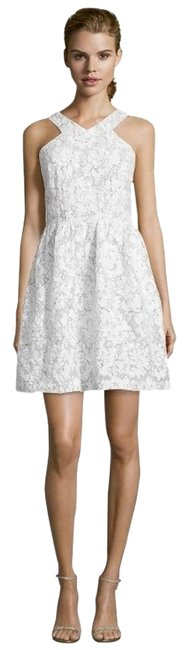 ivy + blu short dress WHITE AND GREY Lace Halter Fit Flare Floral Graduation on Tradesy