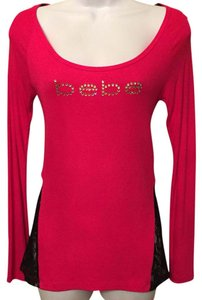 bebe Top Fuscia and black