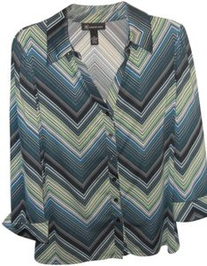 INC International Concepts Button Down Shirt Striped Green
