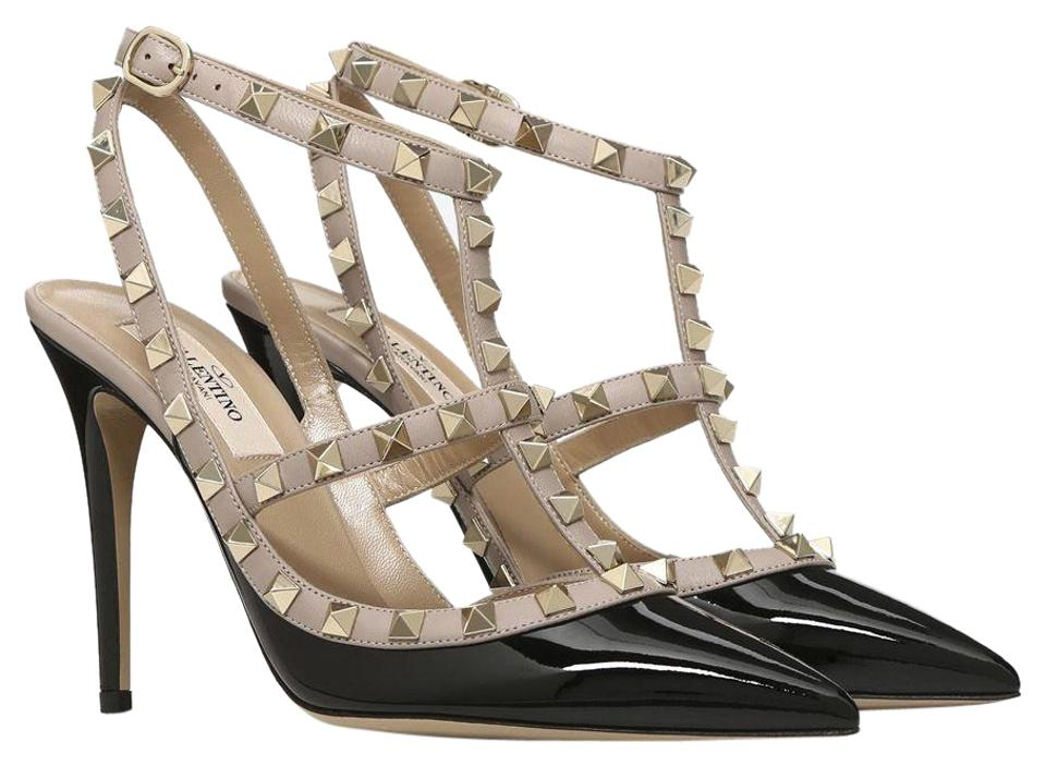 38f46bf7e6e6 Valentino Black Classic Rockstud Colorblock Patent Leather Strappy Cage  Point-toe Heel Pumps