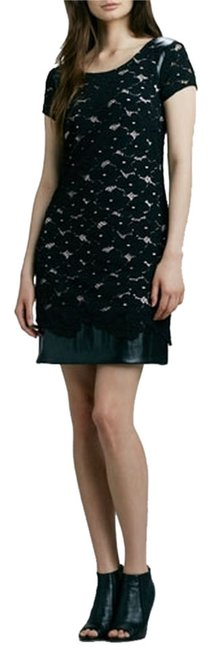 Phoebe Couture short dress Black Lace Faux Leather Day Cocktail on Tradesy