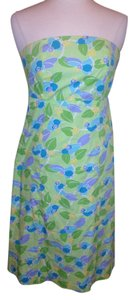 Lilly Pulitzer short dress Green Multi Colors Strapless Bird Size 0 on Tradesy