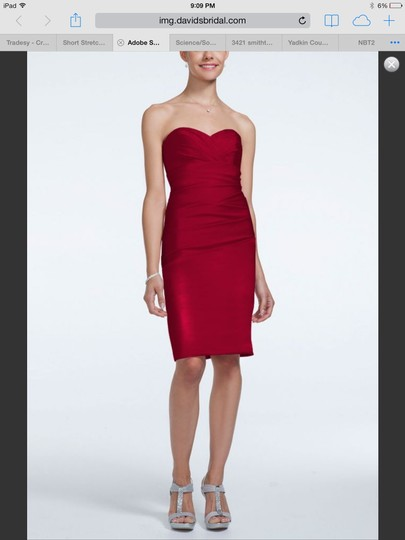 David's Bridal Punch Short Stretch With Sweetheart Dress