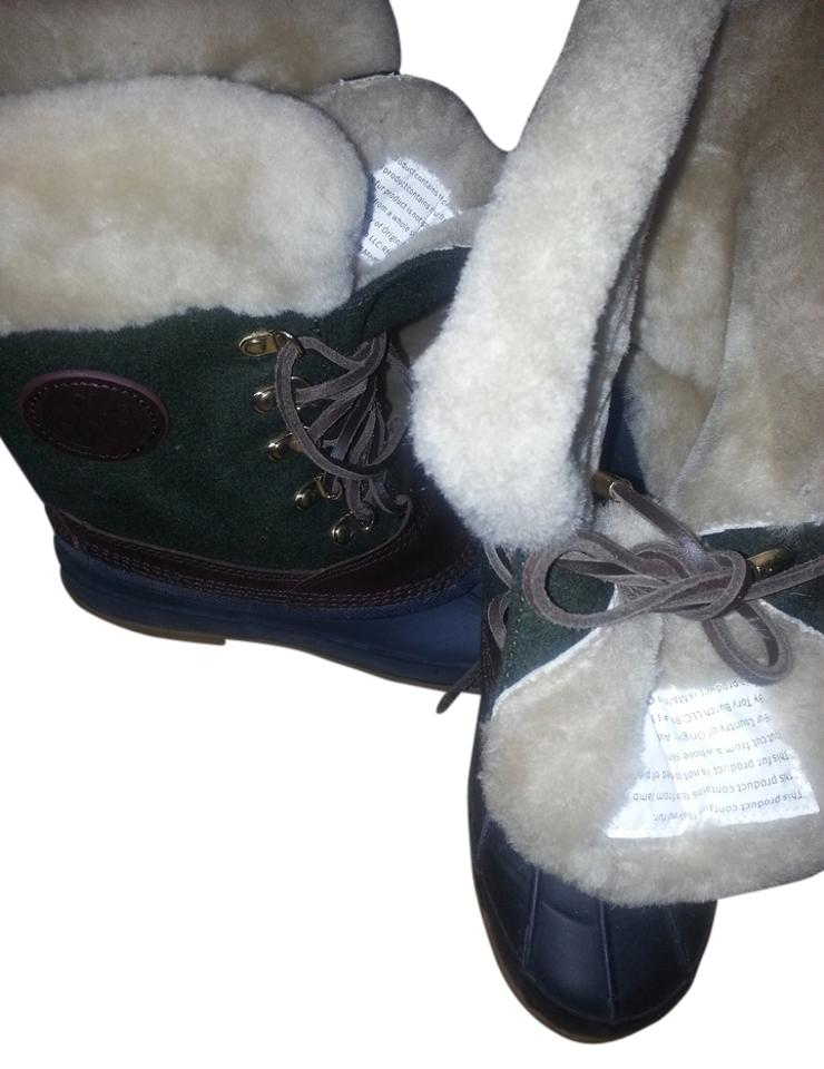 Tory Green/Brown/Navy Burch Green/Brown/Navy Tory Jada Midshaft Duck Boots/Booties 990c44