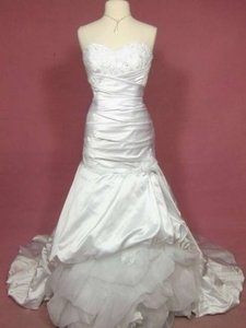 Alfred Angelo White Satin 212 Formal Wedding Dress Size 10 (M)