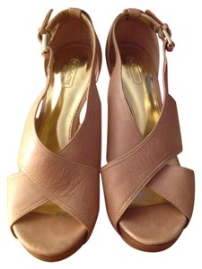 Coach Strappy Open Toe Stacked Heel Logo Buckle Tan Pumps
