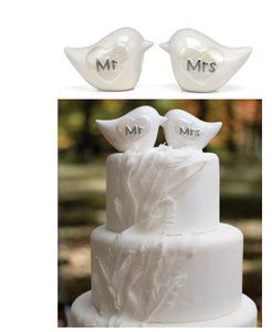 Hortense B. Hewitt Mr and Mrs Porcelain Love Birds Cute Or Anniversary Pearlized Heart Shape Birds Cake Topper