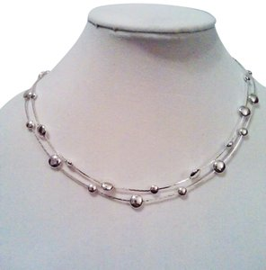 Worthington 2 strand Silver Bib Necklace with round bullets by Worthington