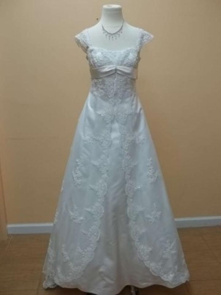 Alfred Angelo Ivory Satin 1719 Formal Wedding Dress Size 2 (XS ...