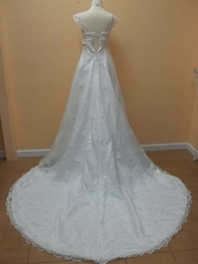 Alfred Angelo Ivory Satin 1719 Formal Wedding Dress Size 2 (XS)