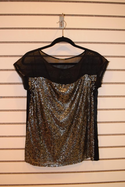 Rebecca Minkoff Holiday Mesh Elegant Top black with gold sequins