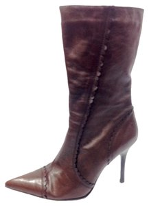 Two Lips Stiletto Scalloped Brown Boots