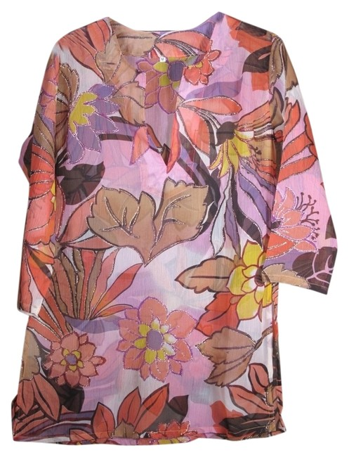 Preload https://item4.tradesy.com/images/rayon-chiffon-pinkgold-floral-tunic-size-6-s-13316473-0-1.jpg?width=400&height=650