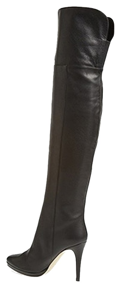 a2b4c991b2 Jimmy Choo Black Over The Knee Gypsy Leather (38) Boots/Booties Size ...