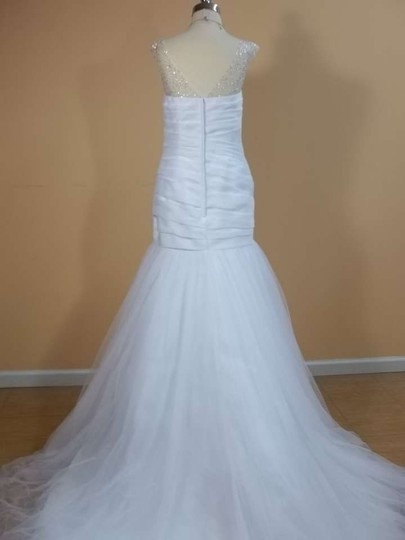 Alfred Angelo White/Metallic Satin 2298 Formal Wedding Dress Size 8 (M)