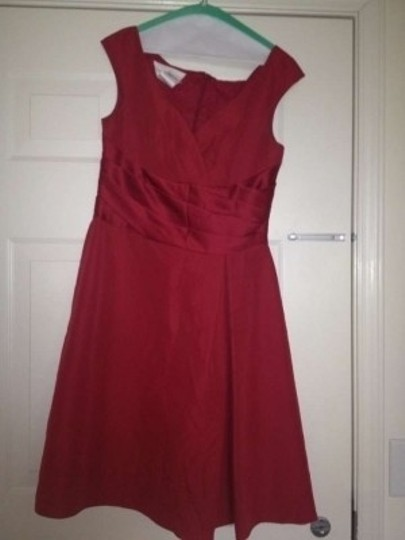 David's Bridal Crimson Polyester F12723 Modern Bridesmaid/Mob Dress Size 12 (L)