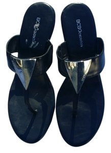 BCBGeneration Embellished Heels Embellished Embellished Sandals Sandals Chic Black and silver Wedges