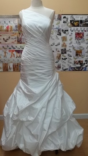 Alfred Angelo Diamond White Taffeta 2385 Formal Wedding Dress Size 10 (M)