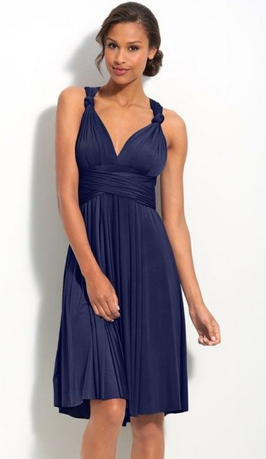 Item - Navy Poly/Jersey Blend Short Straight Length Modern Bridesmaid/Mob Dress Size 4 (S)