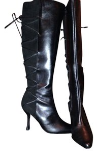 Charles Jourdan Leather Suede Lace-up black Boots