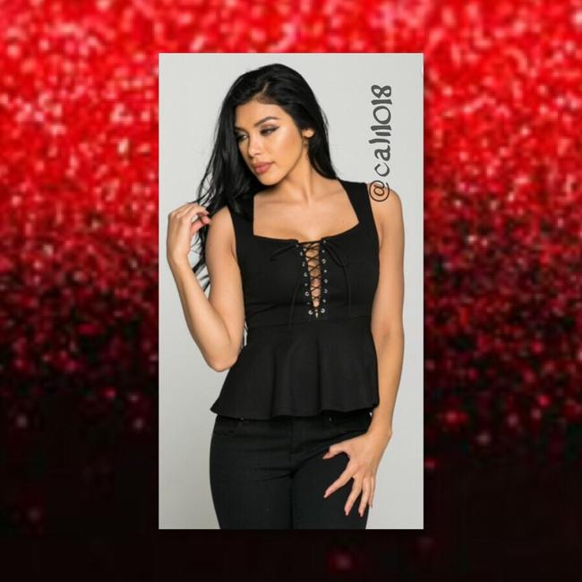 Other Lace Up Boho Women Junior Sexy Top Black