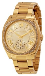 Michael Kors Crystal Pave Gold tone Stainless Steel Square Designer Ladies Dress Watch