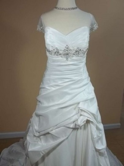 Alfred Angelo Ivory/Silver Taffeta 2229 Formal Wedding Dress Size 16 (XL, Plus 0x)