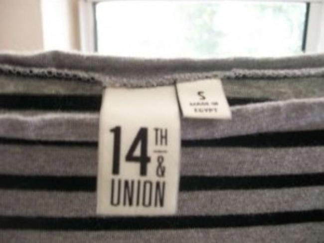 14th & Union Grey/Black Striped Boatneck Longer In Length T Shirt gray and black