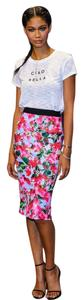 MILLY Neoprene Floral Scuba Skirt Colorful