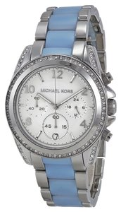 Michael Kors Crystal Silver Tone Stainless Steel Blue Chambray Casual Designer Watch