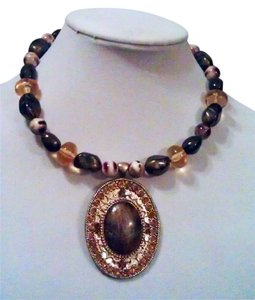 Bold Elements Bold Elements Gold with Brown Hues Medallion Statement Necklace